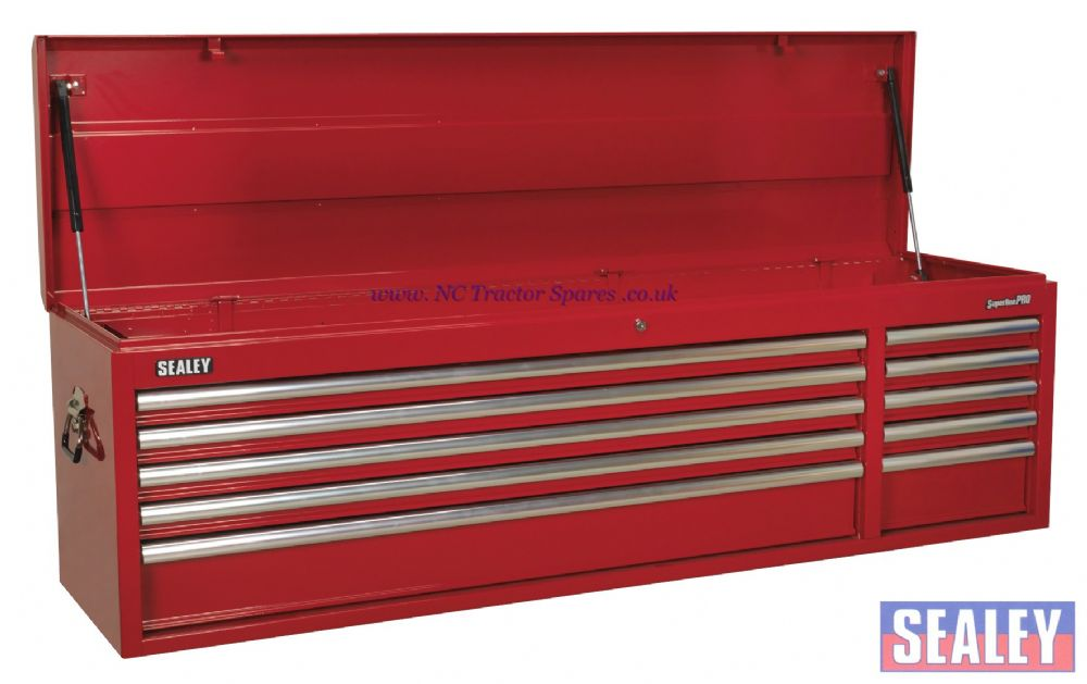 Topchest 10 Drawer with Ball Bearing Runners Heavy-Duty - Red,